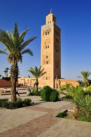 Minaret of Koutoubia, Kutubiya Mosque in the Medina of Marrakesh, Unesco World Heritage Site, Morocco, North Africa