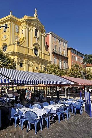 Marche aux Fleurs market and Cours Saleya, Nice, Department Alpes-Maritimes, Region Provence-Alpes-Cote d'Azur, France, Europe