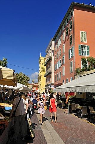 Marche aux Fleurs market on Cours Saleya square, Nice, Departement Alpes-Maritimes, Region Provence-Alpes-Cote d'Azur, France, Cote d'Azur, Europe