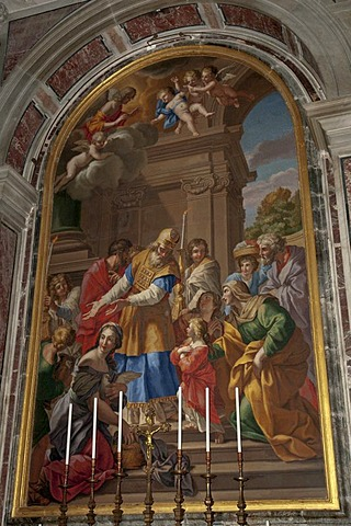 """Mosaic depicting the """"Presentation of Mary"""", original painting by Giovanni Francesco Romanelli, Saint Peter's Basilica, Rome, Italy, Europe"""