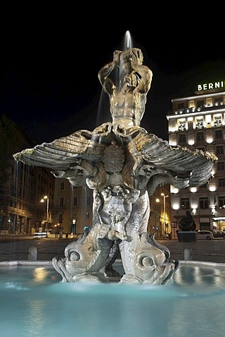 Fontana del Tritone, by Gian Lorenzo Bernini, in travertine, 1642 - 1643, Piazza Barberini, Rome, Italy, Europe