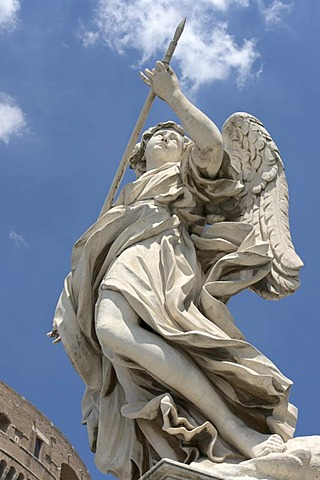 Angel with the lance, by Domenico Guidi, one of the ten statues of angels with symbols of the Passion, design by Bernini, Ponte Sant'Angelo, Rome, Latium, Italy, Europe