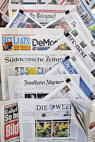 International newspapers at a kiosk, Lisbon, Portugal, Europe