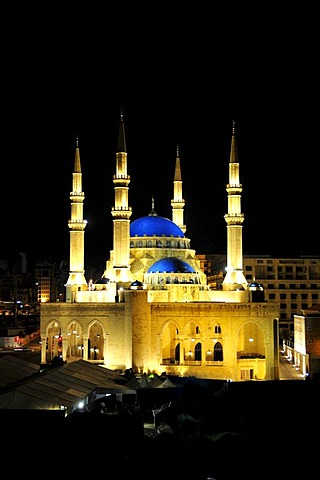 Khatem al-Anbiyaa Mosque at night, Beirut, Lebanon, Middle East, Orient