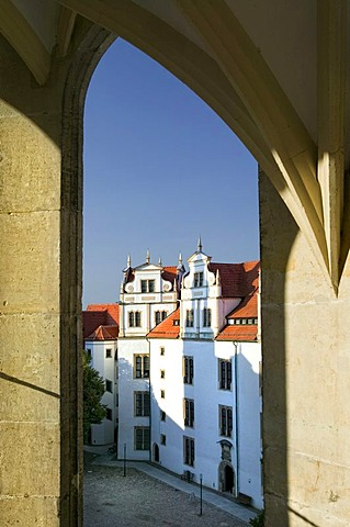 View from the Grosser Wendelstein stairs on the courtyard of Schloss Hartenstein castle, Torgau, Saxony, Germany, Europe