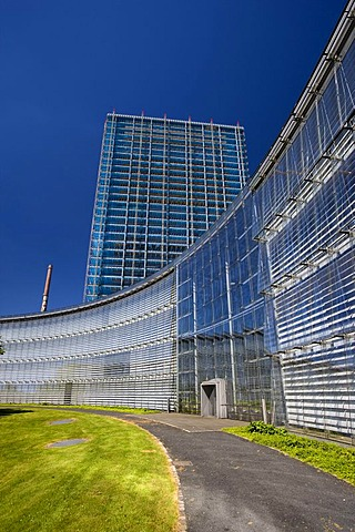The gutted skyscraper of the Bayer AG company is being converted into a media facade with 3.5 million LED lamps, Leverkusen, North Rhine-Westphalia, Germany, Europe