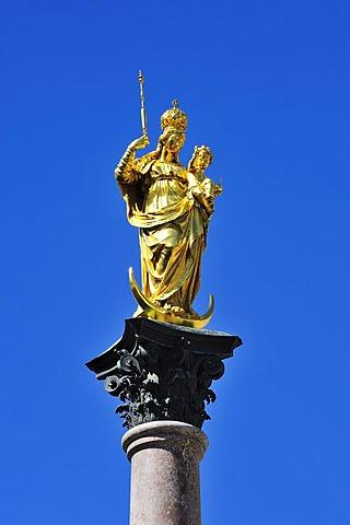 Marian column, Marienplatz, Munich, Bavaria, Germany, Europe
