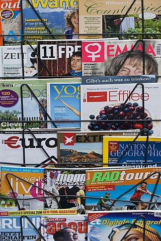 German magazines for sale on a magazine rack