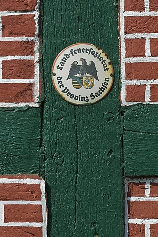 Country Fire Society for the Province of Saxony, insurance sticker on a restored half-timbered facade, northern Germany, Lower Saxony, Germany, Europe