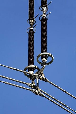 Insulators of a 380 kV power line, electricity, energy