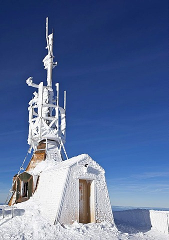 Frozen little weather station, Mt. Saentis, Switzerland, Europe