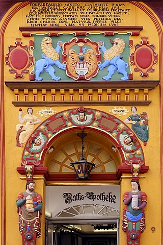 Historic portal with colorful figures and ornaments, old pharmacy, old town, Lueneburg, Lower Saxony, Germany, Europe