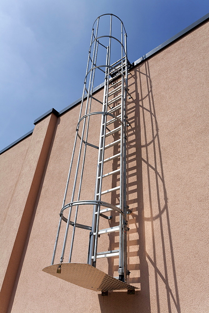 Rescue ladder at a supermarket building, escape route, Duesseldorf, North Rhine-Westphalia, Germany, Europe