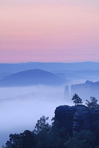 Fog at dawn over Nassen Grund, Elbe Sandstone Mountains, Saxon Switzerland, Saxony, Germany, Europe