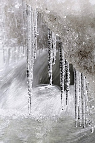 Ice and icicles on a waterfall
