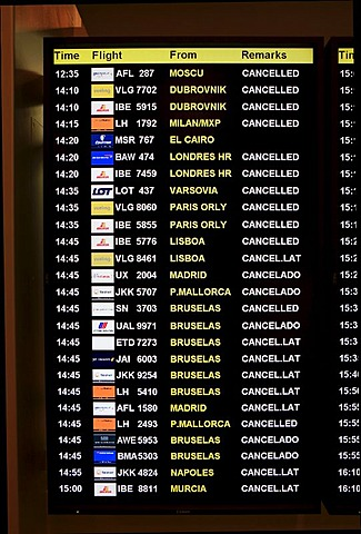 Display board at an airport with cancelled flights