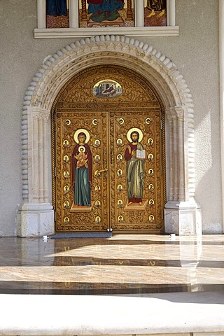 Monastery, church door, Romanian Orthodox, with Manolea, Romania, Europe
