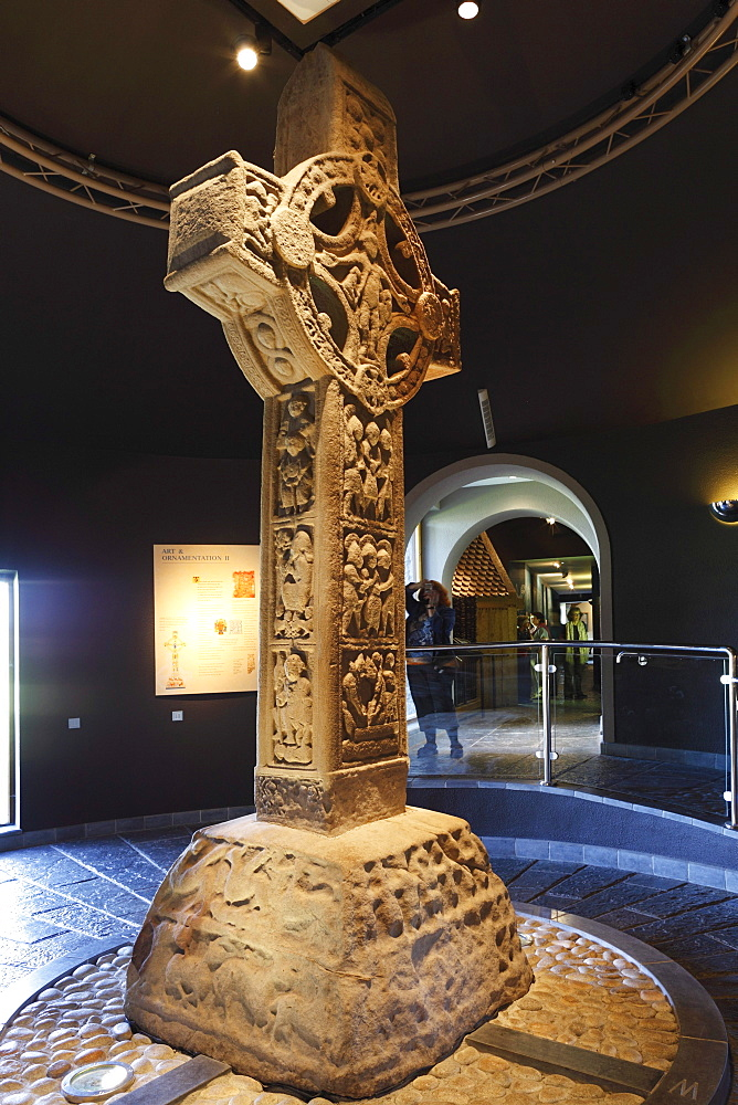 Cross of the Scriptures, a high cross in the Museum in Clonmacnoise Monastery, County Offaly, Leinster, Republic of Ireland, Europe