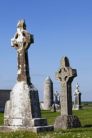 High crosses, right, copy of the Cross of the Scriptures, Clonmacnoise Monastery, County Offaly, Leinster, Republic of Ireland, Europe