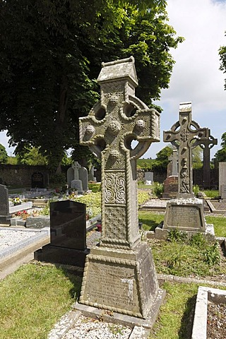 Celtic crosses on the cemetery, Monasterboice monastery, County Louth, Leinster province, Republic of Ireland, Europe