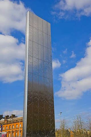 The Water Tower, stainless steel water feature, fountain, by architect Nicholas Hare and artist William Pye, Roald Dahl Plass, Cardiff Bay, Cardiff, Caerdydd, Wales, United Kingdom, Europe