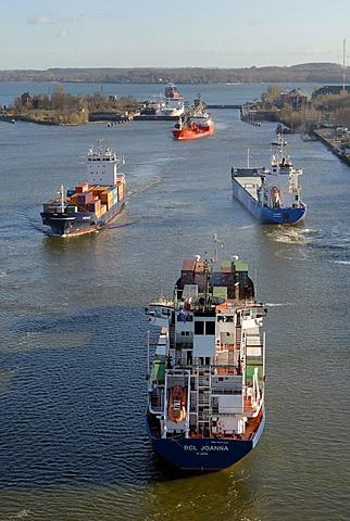 Shipping traffic at Holtenau lock, Kiel Canal, Kiel, Schleswig-Holstein, Germany, Europe
