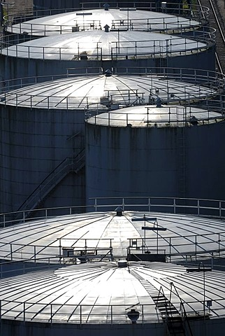 Oil tanks, tank building, back light, Kiel, Schleswig-Holstein, Germany, Europe