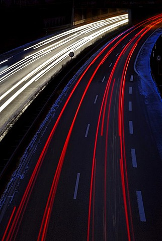 Rush hour, traffic, long exposure, Kiel, Schleswig-Holstein, Germany, Europe