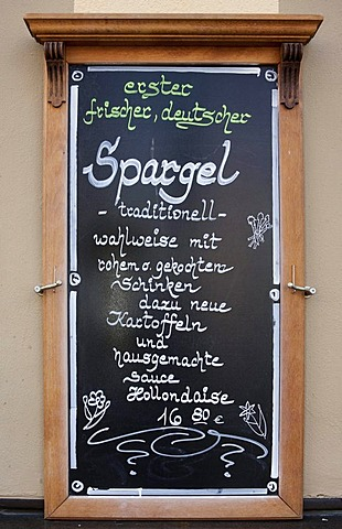 Restaurant-menu displaying asparagus special offer, Germany