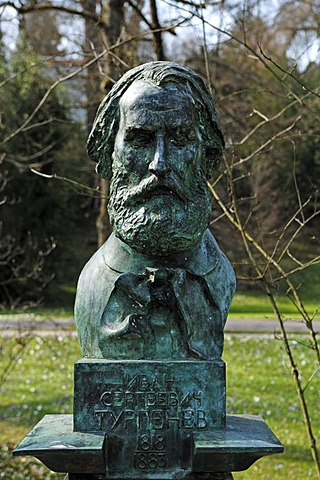 Bust of Ivan Sergeevich Turgenev, Russian writer, 1818-1883, Lichtentaler Allee, Baden-Baden, Baden-Wuerttemberg, Germany, Europe