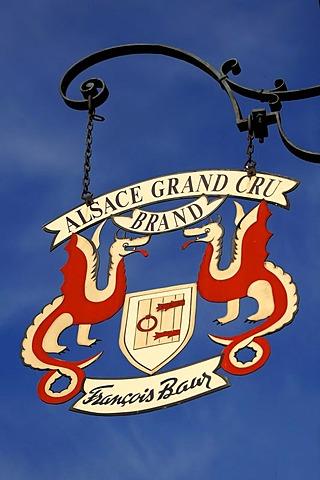 "Pub sign ""Alsace Grand Cru"", 6 rue du Tir, Turckheim, Alsace, France, Europe"