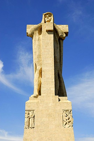 Christopher Columbus statue in Huelva, Costa de la Luz, Huelva region, Andalucia, Spain, Europe