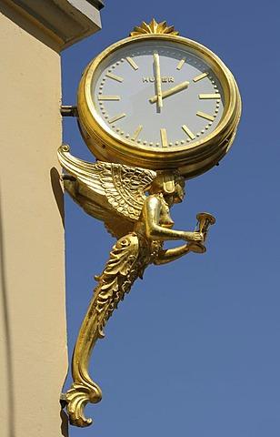 Gilded clock, Munich, Bavaria, Germany, Europe