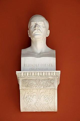 Bust, Rudolf Diesel, engineer, Ruhmeshalle, Hall of Fame, Theresienwiese, Munich, Bavaria, Germany, Europe