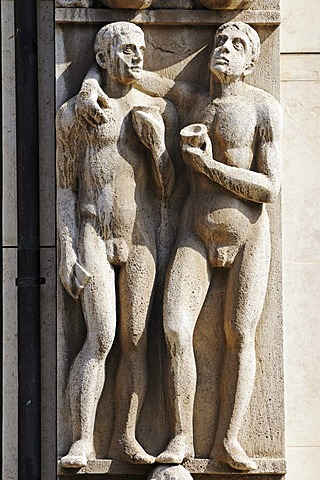 Stone figures on a savings bank building, Erfurt, Thuringia, Germany, Europe