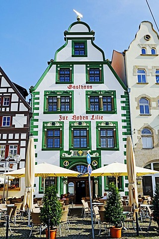 Historical architecture with half-timbered houses, Zur Hohen Lilie Restaurant, Domplatz cathedral square, Erfurt, Thuringia, Germany, Europe