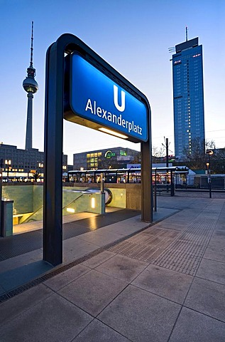 Entrance to the subway at Alexanderplatz, Berlin, Germany, Europe
