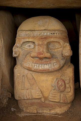 5000 year old sculpture, in San Agustin, Alto de Los Idolos, Huila, Colombia, South America