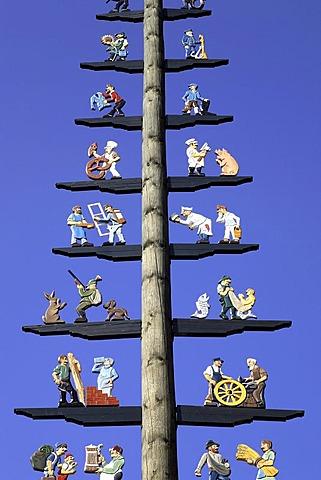 Bavarian maypole, Prien, Chiemgau, Upper Bavaria, Germany, Europe