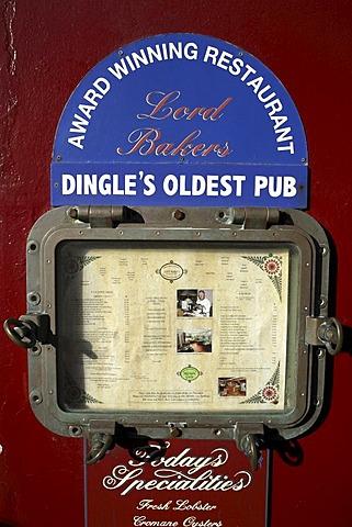 Lord Bakers Restaurant menu board, Dingle, County Kerry, Republic of Ireland, Europe