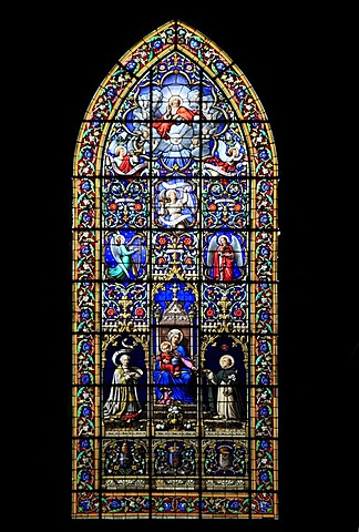 Church window, church of Saint-Sulpice, Fougeres, Ille-et-Vilaine, Region Bretagne, France, Europe