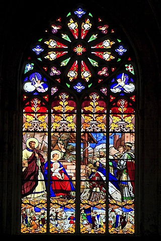 Stained glass window, Cathedral of Saint-Gatien, Tours, Inde-et-Loire, Region Centre, France, Europe