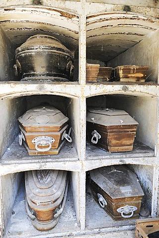Coffins, La Recoleta Cemetery in Buenos Aires, Argentina, South America