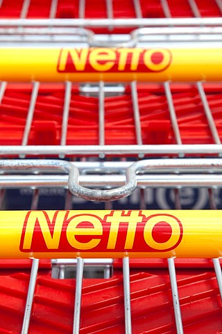 Shopping trolley of discount food store Netto, Heideck, Bavaria, Germany, Europe