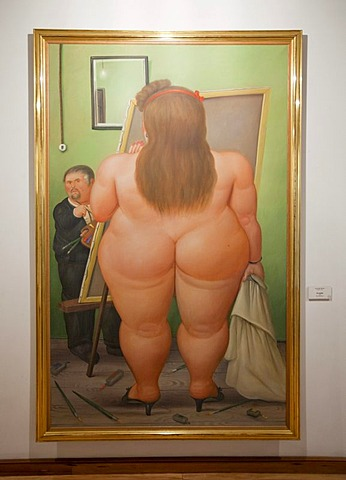 Painting, donated exhibition by the painter and sculptor Fernando Botero, Bogota, Colombia, South America