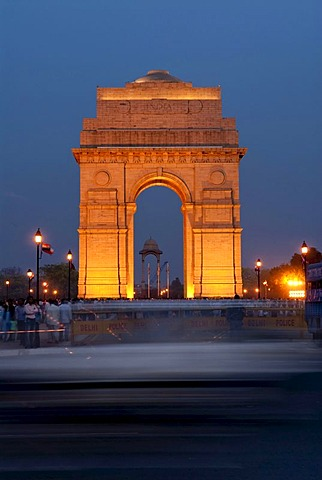 India Gate at night, vibrant, New Delhi, India, Asia