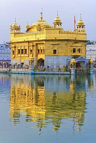 Golden Temple, Harmandir Sahib, sunset, reflection, Amritsar, India, Asia
