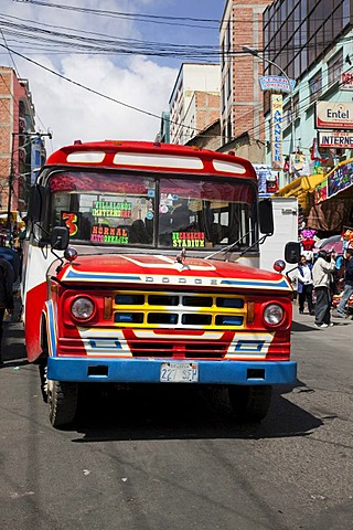 Vintage red Dodge bus in La Paz, Bolivia, South America