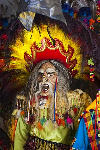 Traditional Bolivian carnival mask with feathers, La Paz, Bolivia, South America