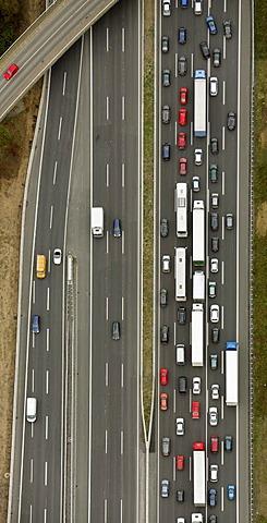 Aerial photo, motorway bridge, traffic jam, Kamen, Ruhr Area, North Rhine-Westphalia, Germany, Europe